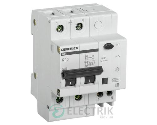Дифференциальный-автоматический-выключатель-АД12 2Р 20А 30мА GENERICA MAD15-2-020-C-030