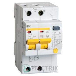 Дифференциальный-автоматический-выключатель-АД12 2Р 25А 100мА IEK MAD10-2-025-C-100