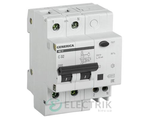 Дифференциальный-автоматический-выключатель-АД12 2Р 32А 30мА GENERICA MAD15-2-032-C-030
