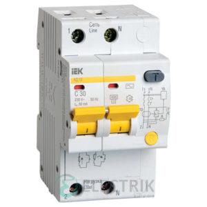 Дифференциальный-автоматический-выключатель-АД12 2Р 32А 30мА IEK MAD10-2-032-C-030