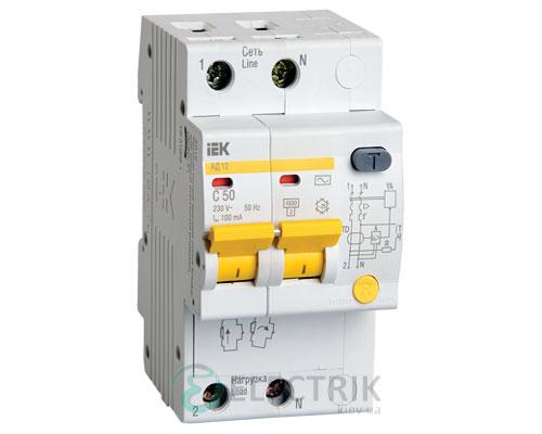 Дифференциальный-автоматический-выключатель-АД12 2Р 50А 100мА IEK MAD10-2-050-C-100