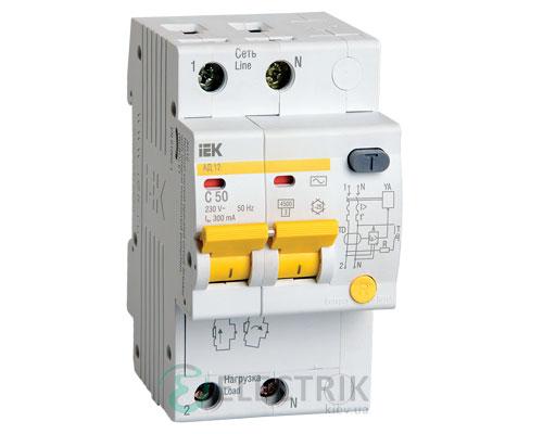 Дифференциальный-автоматический-выключатель-АД12 2Р 50А 300мА IEK MAD10-2-050-C-300