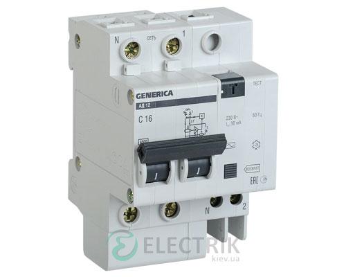 Дифференциальный-автоматический-выключатель-АД12 2Р 50А 30мА GENERICA MAD15-2-050-C-030
