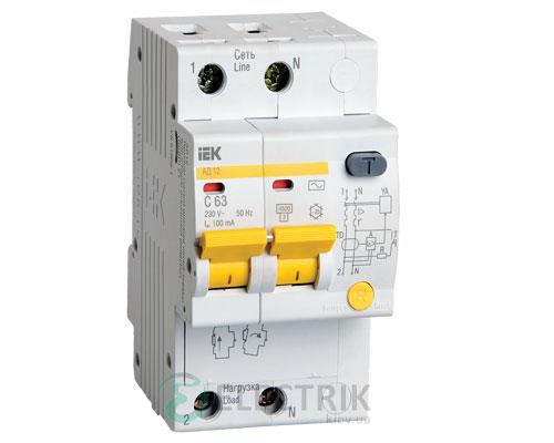 Дифференциальный-автоматический-выключатель-АД12 2Р 63А 100мА IEK MAD10-2-063-C-100