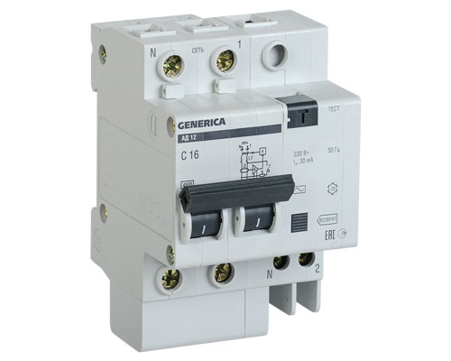 Дифференциальный-автоматический-выключатель-АД12 2Р 63А 30мА GENERICA MAD15-2-063-C-030