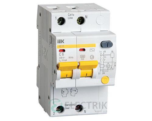 Дифференциальный-автоматический-выключатель-АД12-2Р-6А-10мА-IEK MAD10-2-006-C-010