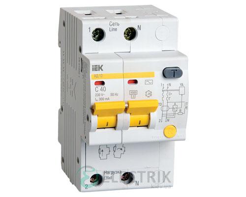 Дифференциальный-автоматический-выключатель-АД12 2Р 40А 300мА IEK MAD10-2-040-C-300
