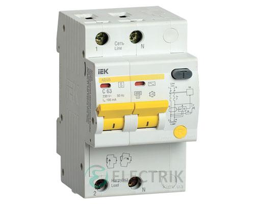 Дифференциальный-автоматический-выключатель-АД12S 2Р 63А 100мА IEK MAD13-2-063-C-100