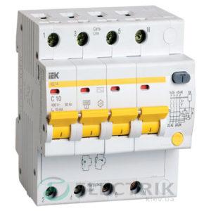 Дифференциальный-автоматический-выключатель-АД14 4Р 10А 10мА IEK MAD10-4-010-C-010