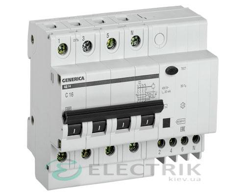 Дифференциальный-автоматический-выключатель-АД14 4Р 16А 30мА GENERICA MAD15-4-016-C-030