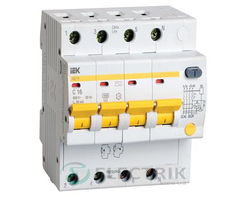 Дифференциальный-автоматический-выключатель-АД14 4Р 16А 30мА IEK MAD10-4-016-C-030