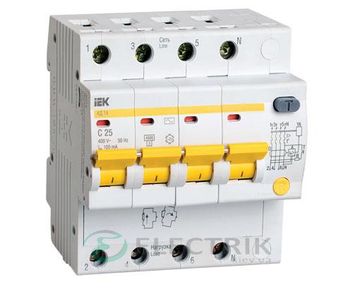 Дифференциальный-автоматический-выключатель-АД14 4Р 25А 100мА IEK MAD10-4-025-C-100