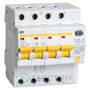 Дифференциальный-автоматический-выключатель-АД14 4Р 25А 300мА IEK MAD10-4-025-C-300