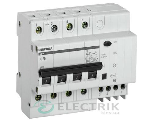 Дифференциальный-автоматический-выключатель-АД14 4Р 25А 30мА GENERICA MAD15-4-025-C-030
