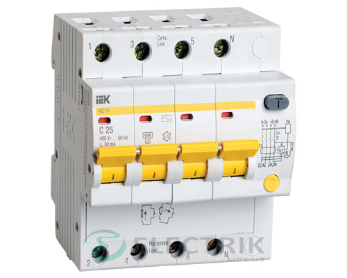 Дифференциальный-автоматический-выключатель-АД14 4Р 25А 30мА IEK MAD10-4-025-C-030