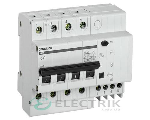 Дифференциальный-автоматический-выключатель-АД14 4Р 40А 30мА GENERICA MAD15-4-040-C-030