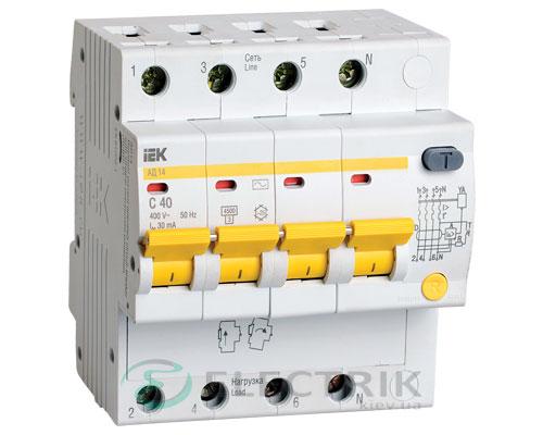 Дифференциальный-автоматический-выключатель-АД14 4Р 40А 30мА IEK MAD10-4-040-C-030