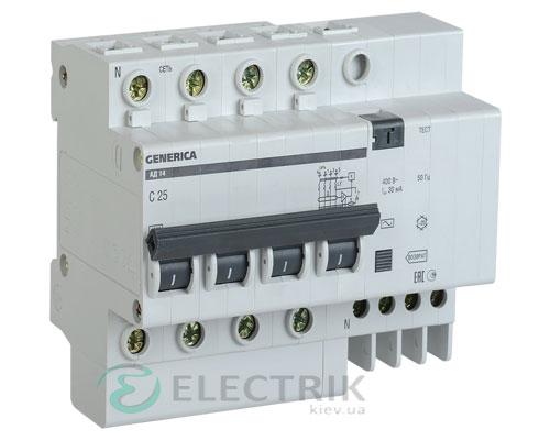 Дифференциальный-автоматический-выключатель-АД14 4Р 50А 30мА GENERICA MAD15-4-050-C-030