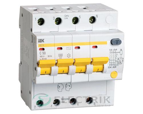 Дифференциальный-автоматический-выключатель-АД14 4Р 50А 30мА IEK MAD10-4-050-C-030