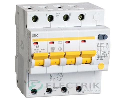 Дифференциальный-автоматический-выключатель-АД14 4Р 63А 100мА IEK MAD10-4-063-C-100