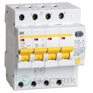 Дифференциальный-автоматический-выключатель-АД14 4Р 63А 300мА IEK MAD10-4-063-C-300
