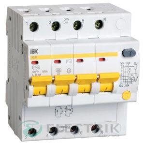 Дифференциальный-автоматический-выключатель-АД14 4Р 63А 30мА IEK MAD10-4-063-C-030