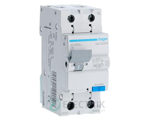 Дифференциальный автоматический выключатель AD856J 1P+N 4.5kA C-6A 30mA тип AC, Hager