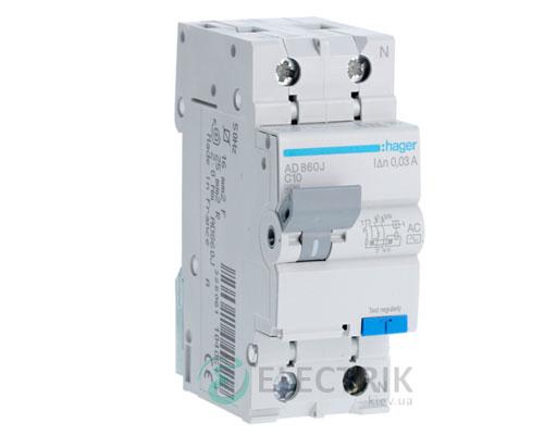 Дифференциальный автоматический выключатель AD860J 1P+N 4.5kA C-10A 30mA тип AC, Hager