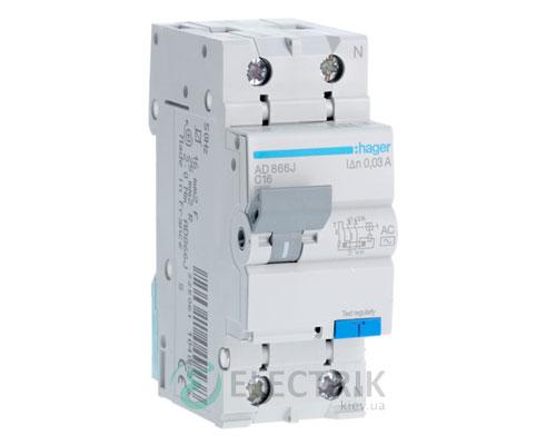 Дифференциальный автоматический выключатель AD866J 1P+N 4.5kA C-16A 30mA тип AC, Hager