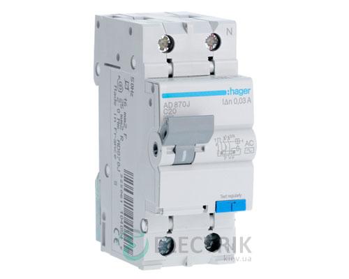Дифференциальный автоматический выключатель AD870J 1P+N 4.5kA C-20A 30mA тип AC, Hager