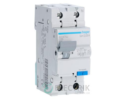Дифференциальный автоматический выключатель AD875J 1P+N 4.5kA C-25A 30mA тип AC, Hager