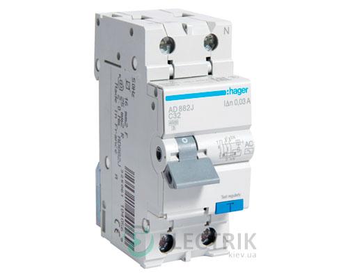 Дифференциальный автоматический выключатель AD882J 1P+N 4.5kA C-32A 30mA тип AC, Hager