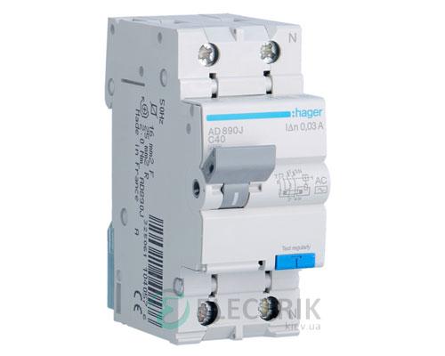 Дифференциальный автоматический выключатель AD890J 1P+N 4.5kA C-40A 30mA тип AC, Hager