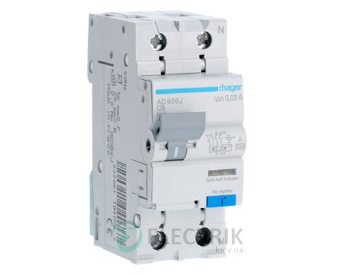 Дифференциальный-автоматический-выключатель-AD956J-1P+N-6kA-C-6A-30mA-тип-A,-Hager