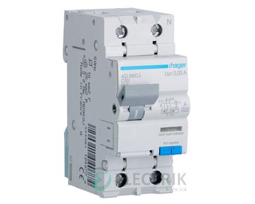 Дифференциальный автоматический выключатель AD960J 1P+N 6kA C-10A 30mA тип A, Hager