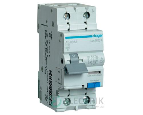 Дифференциальный автоматический выключатель AD966J 1P+N 6kA C-16A 30mA тип A, Hager