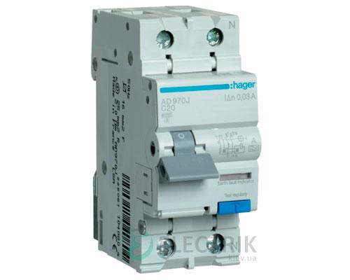 Дифференциальный автоматический выключатель AD970J 1P+N 6kA C-20A 30mA тип A, Hager