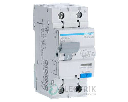 Дифференциальный автоматический выключатель AD975J 1P+N 6kA C-25A 30mA тип A, Hager