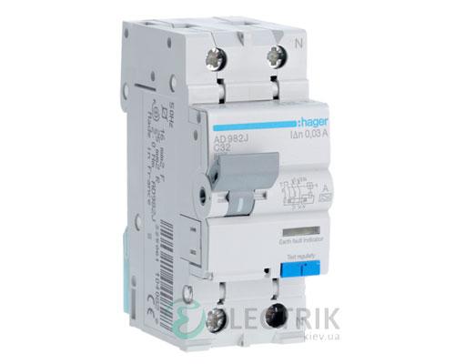 Дифференциальный автоматический выключатель AD982J 1P+N 6kA C-32A 30mA тип A, Hager