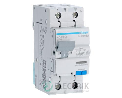 Дифференциальный автоматический выключатель AD990J 1P+N 6kA C-40A 30mA тип A, Hager
