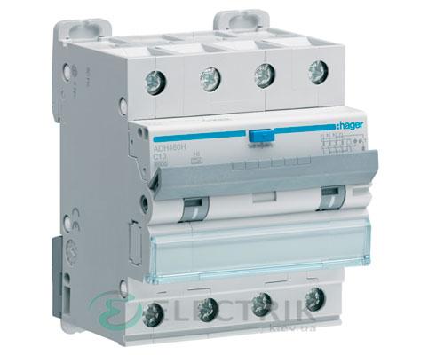 Дифференциальный автоматический выключатель ADH460H 4P 6kA C-10A 30mA тип Hi, Hager