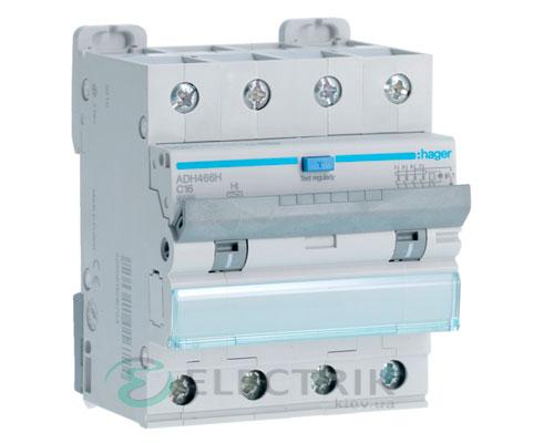 Дифференциальный автоматический выключатель ADH466H 4P 6kA C-16A 30mA тип Hi, Hager