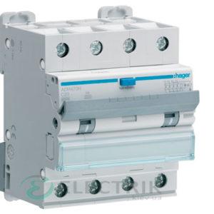 Дифференциальный автоматический выключатель ADH470H 4P 6kA C-20A 30mA тип Hi, Hager