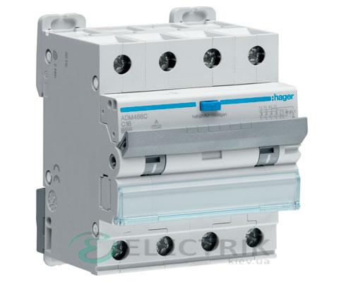 Дифференциальный автоматический выключатель ADM466C 4P 6kA C-16A 30mA тип A, Hager