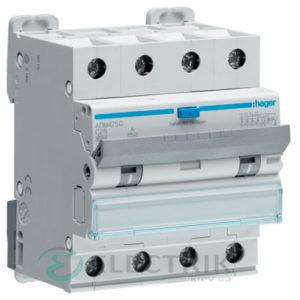 Дифференциальный автоматический выключатель ADM475C 4P 6kA C-25A 30mA тип A, Hager