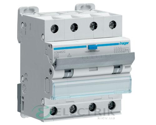 Дифференциальный автоматический выключатель ADM482C 4P 6kA C-32A 30mA тип A, Hager