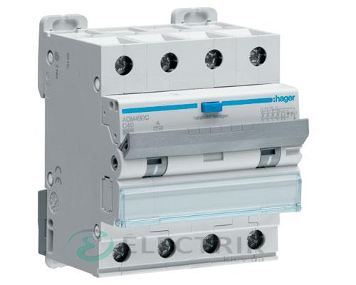 Дифференциальный автоматический выключатель ADM490C 4P 6kA C-40A 30mA тип A, Hager