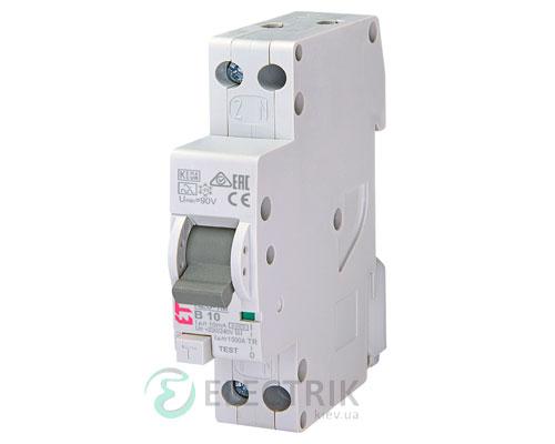 Дифференциальный автоматический выключатель KZS-1M B 10/0,01 тип A (6kA, нижнее подключение)