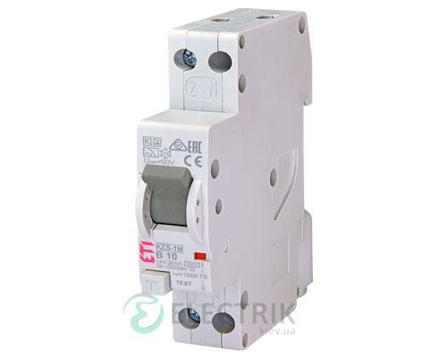 Дифференциальный автоматический выключатель KZS-1M B 10/0,03 тип A (6kA, нижнее подключение)