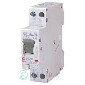 Дифференциальный автоматический выключатель KZS-1M B 16/0,03 тип A (6kA, нижнее подключение)